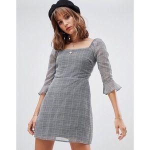 ASOS Dresses - WILD HONEY 🍯 Houndstooth Square Neck Dress